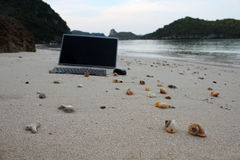 The computer on the beach. Royalty Free Stock Images
