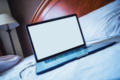 Computer in Bed Stock Photos