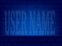 Computer binary code on Blue screen Royalty Free Stock Photos