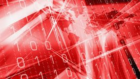 Computer binary code red tech idea. Computer binary code and world map Royalty Free Stock Image