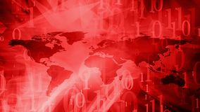 Cyber security red world map. Computer binary code and world map Royalty Free Stock Photo