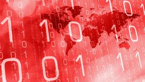 International technology business news red concept. Computer binary code and world map Stock Photo