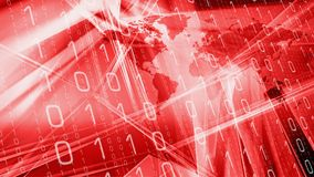 Modern breaking tech news. Computer binary code and world map Royalty Free Stock Photos