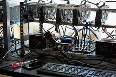 Computer for bitcoin mining stock photography