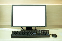 Computer with blank monitor Stock Photography