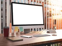 Computer with blank screen with keyboard on desk stock photos