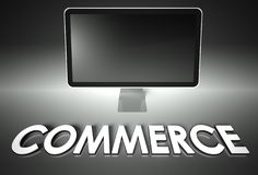 Computer blank screen with word Commerce Stock Photos