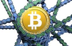 Computer blockchain met bitcoin op wit Stock Foto's