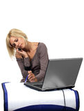 Computer blonde Royalty Free Stock Image