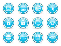 Computer blue circle icons set Stock Photography