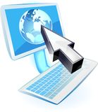 Computer with blue globe and cursor Royalty Free Stock Photos