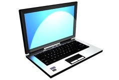 Computer with a blue screen on a blue background Stock Images