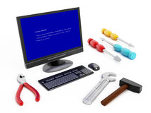 Computer blue screen error. Computer with blue screen error and repair tools royalty free stock photo