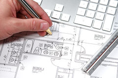 Computer Blueprint Stock Photo