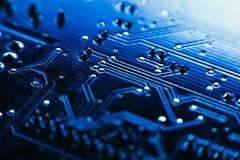 Computer board blue color close-up Stock Photography