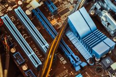 Computer board chip circuit cpu core blue technology. Background or texture with processors microelectronics hardware concept electronic device motherboard stock photos