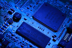 Computer board with chips Stock Photo
