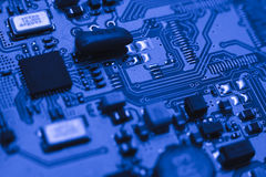 Computer board with chips Royalty Free Stock Image