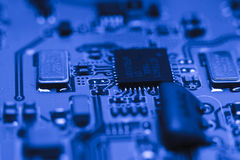 Computer board with chips Royalty Free Stock Photo