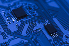 Computer board with chips Stock Images