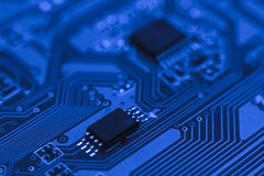 Computer board with chips Royalty Free Stock Images