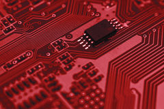 Computer board with chips Royalty Free Stock Photos