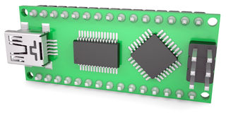 Computer board with chips and USB output Royalty Free Stock Photography