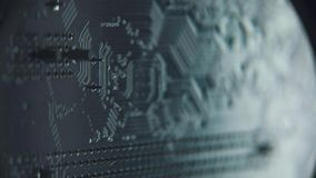 Computer board close-up. Microchip of digital high-tech device. stock footage