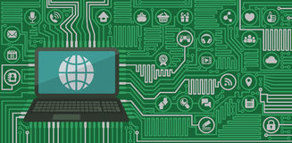 Computer Board with a Laptop and Web Icons Royalty Free Stock Photography