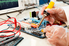 Computer board soldering Royalty Free Stock Photos