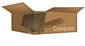 Computer Box. Corrugated brown box opened with computer labels Royalty Free Stock Photography