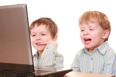 Computer boys Royalty Free Stock Photos
