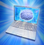 Computer Brain Artificial Intelligence. A Laptop computer with a human brain on the screen