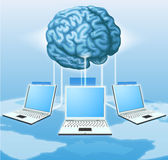Computer brain computing concept. Computers connected to central brain, concept for distributed computing, crowd sourcing or other internet metaphor Royalty Free Stock Photos