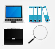 Computer, Briefcase, Magnifying Glass, Folders Stock Photos