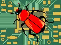 Computer bug. Illustration of a bug on a pc board Royalty Free Stock Image