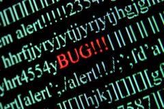 Computer bug. On a screen stock photos