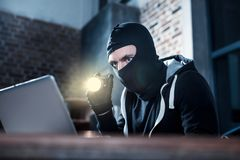 Computer burglar stealing computer data Stock Photo