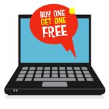 Computer, business concept with text Buy One, Get One Free. Laptop or notebook computer, business concept with text Buy One, Get One Free, vector illustration Royalty Free Stock Image