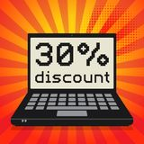 Computer, business concept with text 30 percent discount. Laptop or notebook computer, business concept with text 30 percent discount, vector illustration Royalty Free Stock Images