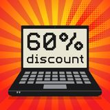 Computer, business concept with text 60 percent discount. Laptop or notebook computer, business concept with text 60 percent discount, vector illustration Stock Photo