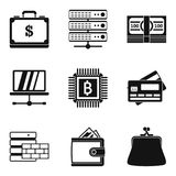 Computer business icons set, simple style. Computer business icons set. Simple set of 9 computer business vector icons for web isolated on white background Royalty Free Stock Photography