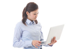 Computer and businesswoman Stock Images