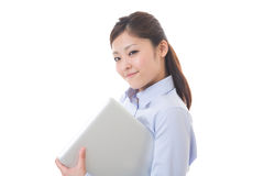Computer and businesswoman. Young businesswoman to see a computer Royalty Free Stock Image