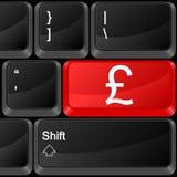 Computer button british pound. Keyboard computer button british pound. Vector illustration Stock Image