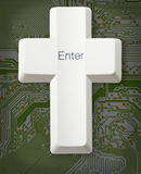 Computer button - Christian cross - Enter Stock Photo