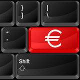 Computer button euro. Keyboard computer button euro. Vector illustration Stock Images