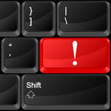 Computer button exclamation mark Stock Images