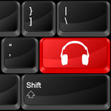 Computer button headphone Royalty Free Stock Photos