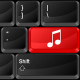 Computer button music. Keyboard computer button music. Vector illustration Royalty Free Stock Photos